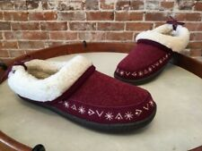 Clarks Burgundy Red Wool & Faux Shearling Slipper Mule Clogs 9 New