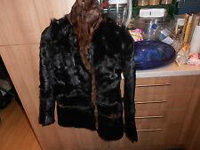 Vintage Beautiful  Ladies 1930s  Black & Tan Fur Jacket
