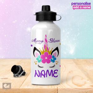 Personalised UNICORN Water Bottle Girly Cute Kids Drink School Sports Girls Gift