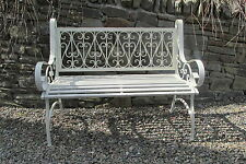 Shabby chic 2 seater metal bench in aged antique cream