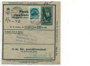 Ungarn Postanweisung  2.WK 1941 Tokod - Budapest