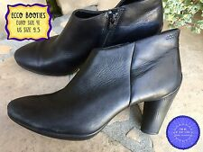 Size 41 ECCO Smooth Black Leather Platform Ankle Boots Chunky High Heel Booties