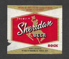 Sheridan BOCK Beer bottle label, non- IRTP, Walter, Pueblo, CO, 1950s, WY
