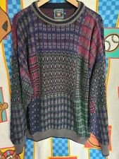 Vtg 90s Ralph Lauren Chaps Hand Knit Cotton Multicolor Sweatshirt XL