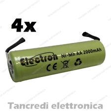4 BATTERIE PILE RICARICABILI AA STILO NI-MH 1,2V 2000mAh SALDARE 14x50mm 2200mAh