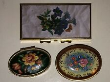 LOT 3 FLORAL PILL BOXES 1 DAY OF WEEK COMPARTMENTS 1 MADE IN ITALY PURSE POCKET
