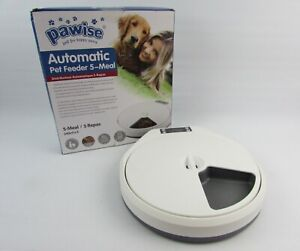 PAWISE Automatic Pet Feeder for Dogs and Cats, 5 Meal Trays Dry Wet Food, Auto 5