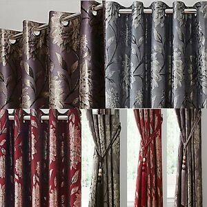 ELANIE - METALLIC JACQUARD - FLORAL LINED RING TOP CURTAINS - cheap price
