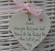 Best special friend shabby heart chic birthday christmas gift keepsake 8cm