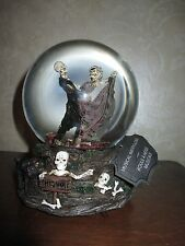 NWT Musical Dancing Skeleton Couple Snow Water Globe, Wedding-Halloween-Anniv.
