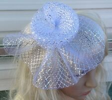 silver fascinator millinery feather brooch clip wedding hat bridal ascot race