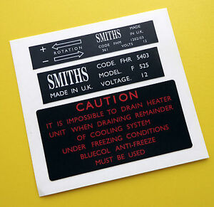 MGB Vintage early retro SMITHS heater box and fan motor stickers decals