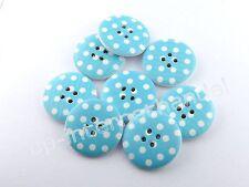 8 HOLZKNÖPFE - Kinderknöpfe - Weiße Punkte auf Babyblau - Ø 25mm - B-Ware