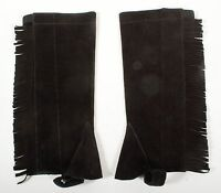 S M YOUTH BLACK SUEDE LEATHER FRINGE ENGLISH RIDING HORSE APPAREL HALF CHAPS