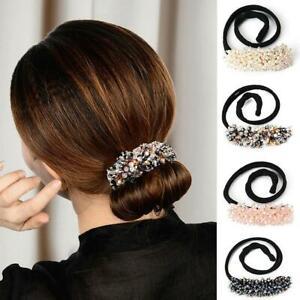 Women Fashion Elegant Hair Bun Maker Rhinestone Glass Beads Magic Hair Curler