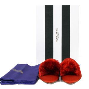 37 NEW $650 AQUAZZURA Red Silk Satin POWDER PUFF POM POM Point Toe Mules FLATS