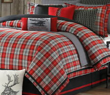 RED PLAID 4pc King COMFORTER SET : LODGE CABIN BLACK WOVEN JACQUARD BEDDING