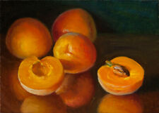 small original oil painting realism still life apricot fruit 7x5 Y Wang fine art
