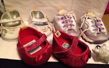 Lot Build A Bear Shoes Sneakers Sketchers Sparkle Red Dorothy silver girls used