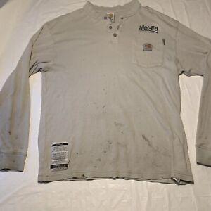 Carhartt FR HRC2 Long Sleeve Henley Shirt Men's Medium Met-Ed