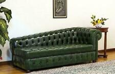 Chaiselongues Chesterfield Sofa Grün Couch Liege Ottomane Recamiere Leder Chiase