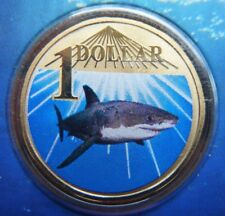 2007 $1 Shark - Australia Ocean Series White Shark, Coloured UNC $1 Coin in Card