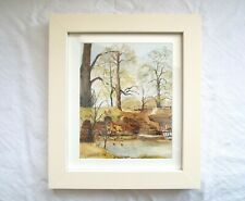 Redbridge Wentworth English Autumn Landscape Painting Watercolor Yorkshire