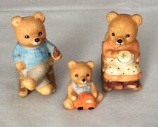 Homco Bear Family of 3 Figurines Retired Home Interiors #1470 Rocking Chair Bear