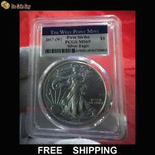 """2017 W American Eagle Silver Dollar, PCGS MS69, """"The West Point Mint"""" Label"""