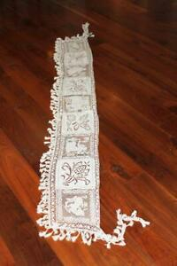 """FRENCH ANTIQUE EDWARDIAN COTTON HAND MADE LACE TABLE LINEN 78"""" L X 9"""" WIDTH"""