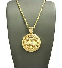 """New Hip Hop Round Quality Control Music QC Pendant 24"""" Rope Chain Necklace XZ114"""