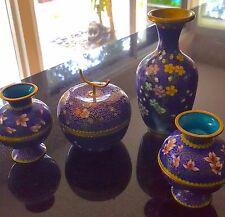 VTG 7pc Set Cobalt CLOISONNE Turq enamel Gold Trim Egg cups Sugar Vase BEAUTIFUL