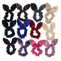 Cute Velvet Bow knot Scrunchies Ear Hair Ring Stretch Hair tie Ponytail Holder