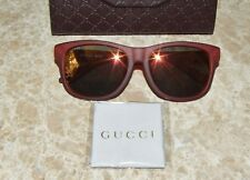06a569f31a8 GUCCI Matte Red Bio Based Frame With Orange Mirrored Squared Sunglasses NWT   370