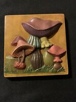"Vintage Mushroom 3D Ceramic Wall Art Hanging Plaque Square 5""  Purple Green"