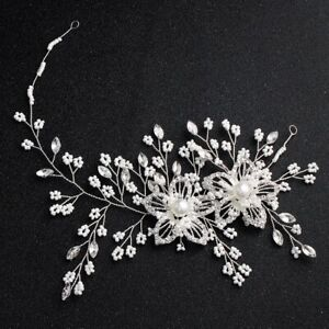 New Pearl Crystal Flower Wedding Headband Hair Vine Band Bridal Hair Accessories