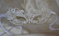 White Lace & Diamante Masquerade Mask Valentine's New Year Balls Proms Weddings
