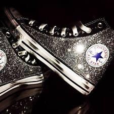 converse all star nera con glitter piu' borchie piu' sporcatura