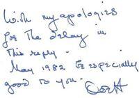 OLIVIA De HAVILLAND small 2x3 handwritten note signed.