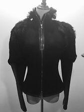 NARCISO RODRIGUEZ Black Fur Goat Coat! 8