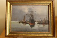 oil on panel  boat E. Galien Laloue ship and boats scene fully signed
