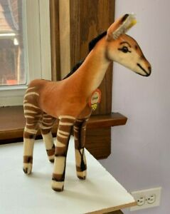 Okapi Steiff Stuffed Animal Velvet w Paper Tag & Ear Tag 1950s-60s  Excellent