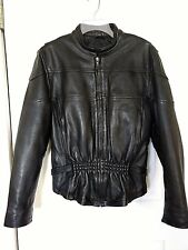Allstate Leather Black Vented Moto Jacket Motorcycle Zippers Punk Goth Womens XL