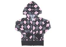 Oshkosh Girls Toddler/Kids Argyle Pink/Black Print Zip-Up Hoodie Jacket, 3 (2-3)