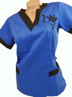 New Women Nursing Scrub Royal Blue Black Embroidery Butterfly poly/Cotton Top XS