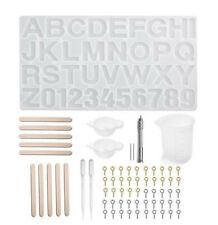 Handmade Crystal Mould Mold Set Resin Alphabet Letters Keyring DIY Craft + Tools