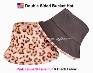 Bucket Hat, Double Sided Pink Leopard Fur & Black Fabric Bucket Hat *US SELLER*