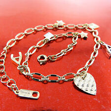 ANKLET REAL 18K YELLOW G/F GOLD SOLID HEART STAR GOOD LUCK CHARM DESIGN FS3A602