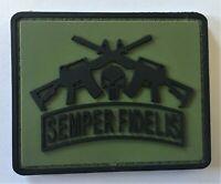 USMC Semper Fidelis Marine Corps Green PVC Patch Hook & Loop  Recon SOI 1198