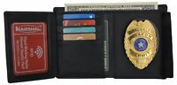 RFID Mens Genuine Leather Black Security Badge Holder Trifold Wallet
